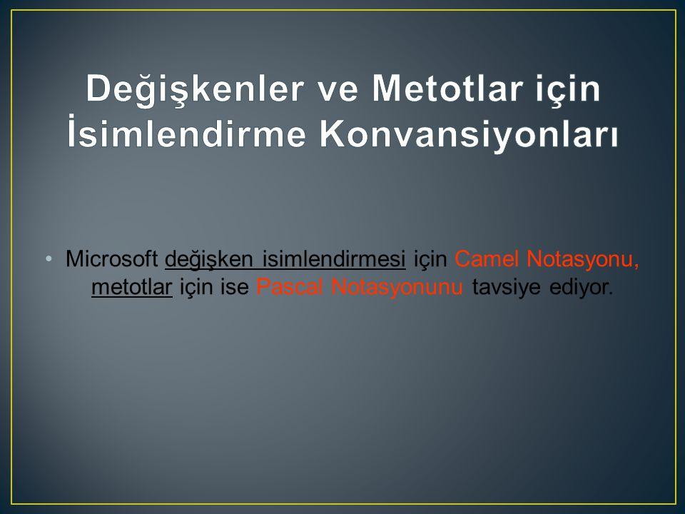 Microsoft değişken isimlendirmesi için Camel Notasyonu, metotlar için ise Pascal Notasyonunu tavsiye ediyor.