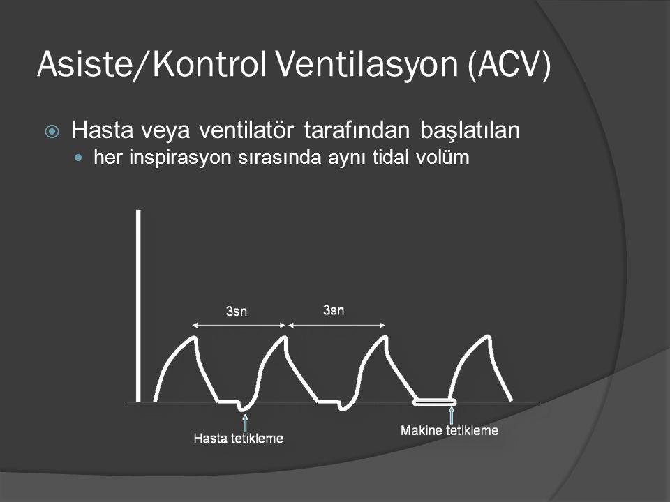 Asiste/Kontrol Ventilasyon (ACV)  Hasta veya ventilatör tarafından başlatılan her inspirasyon sırasında aynı tidal volüm
