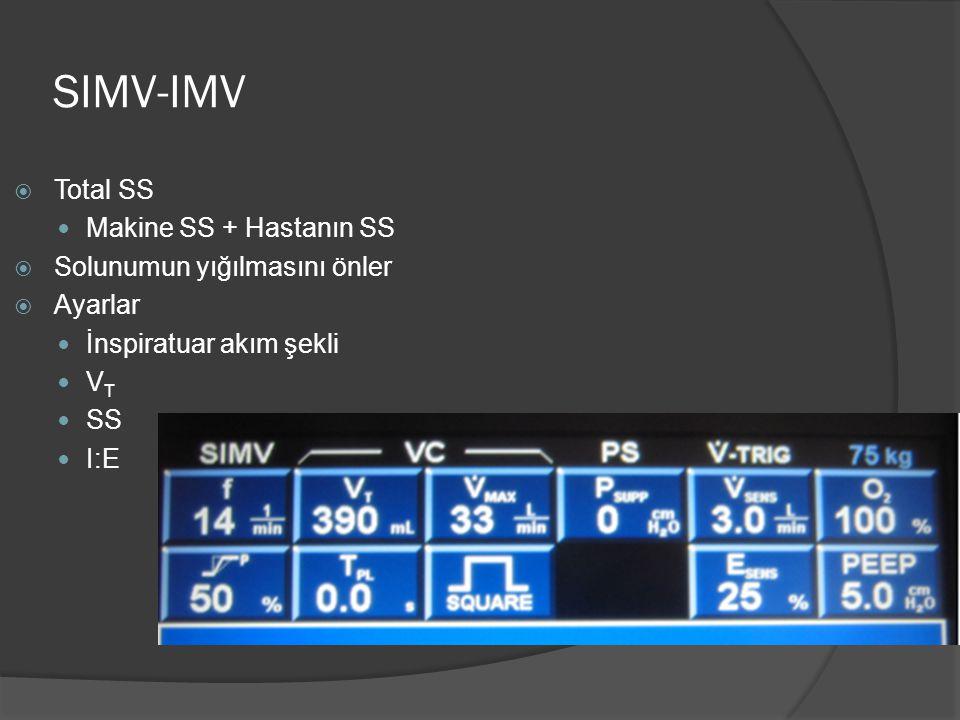 SIMV-IMV  Total SS Makine SS + Hastanın SS  Solunumun yığılmasını önler  Ayarlar İnspiratuar akım şekli V T SS I:E