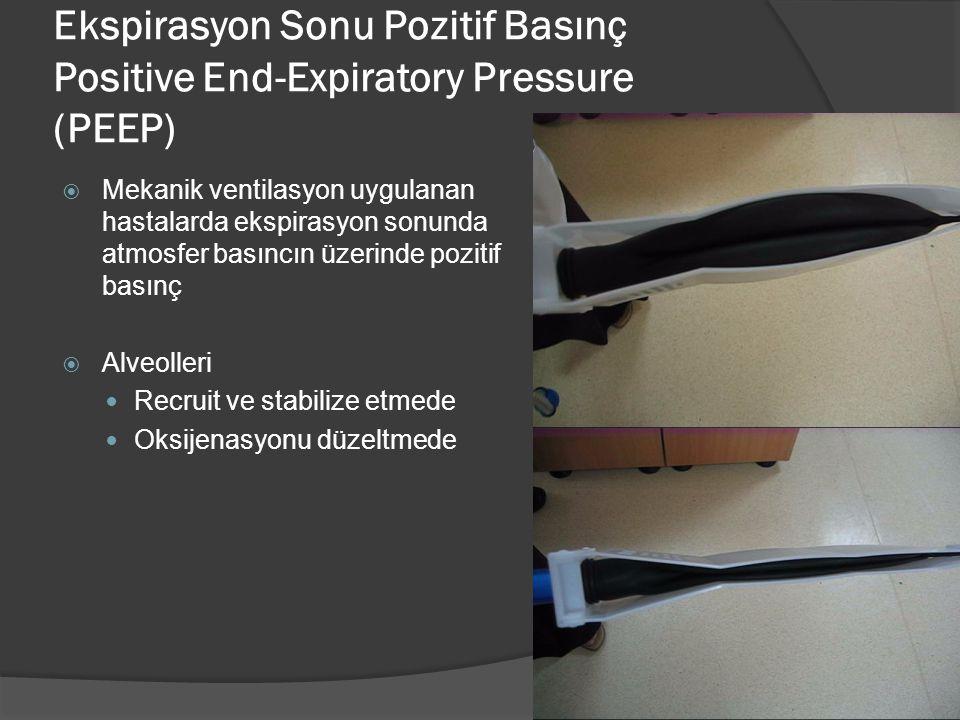 Ekspirasyon Sonu Pozitif Basınç Positive End-Expiratory Pressure (PEEP)  Mekanik ventilasyon uygulanan hastalarda ekspirasyon sonunda atmosfer basıncın üzerinde pozitif basınç  Alveolleri Recruit ve stabilize etmede Oksijenasyonu düzeltmede