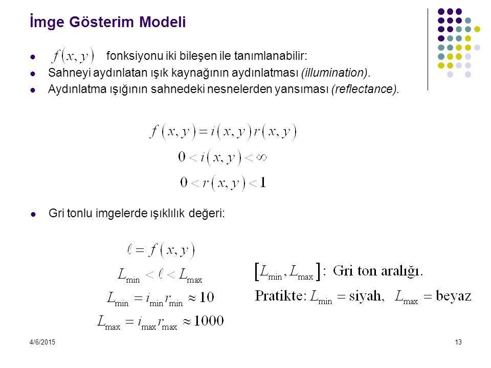 4/6/201513 İmge Gösterim Modeli fonksiyonu iki bileşen ile tanımlanabilir: Sahneyi aydınlatan ışık kaynağının aydınlatması (illumination). Aydınlatma