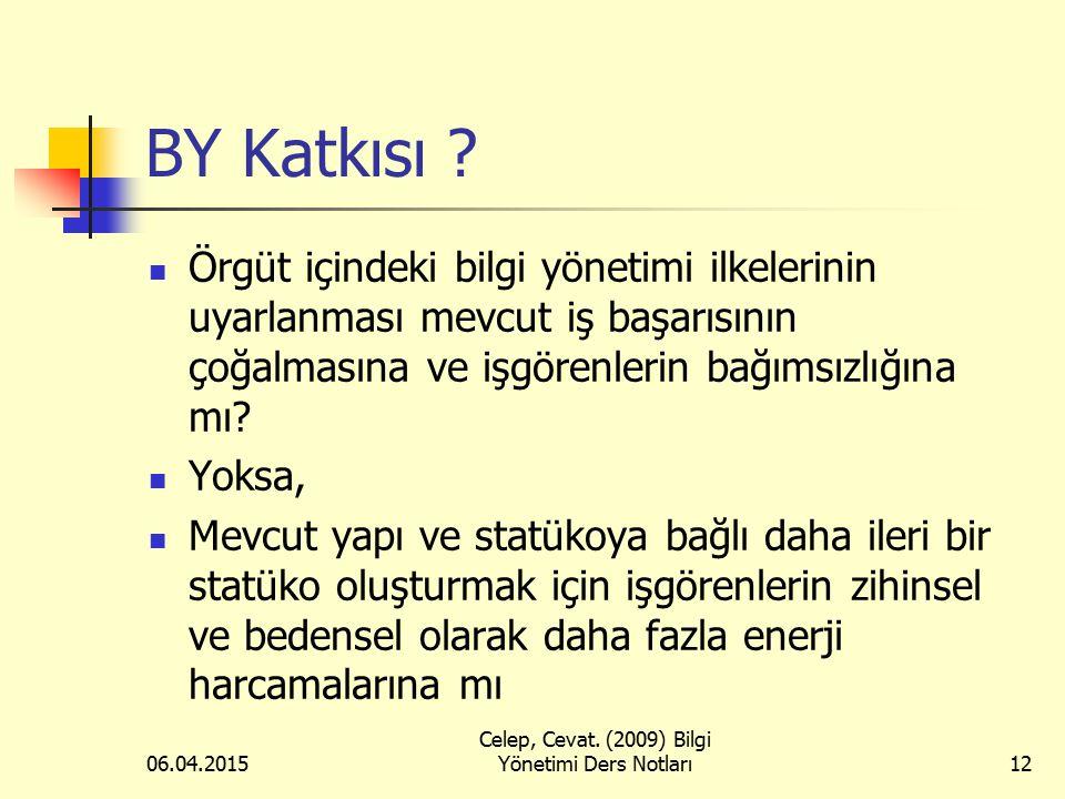 06.04.2015 Celep, Cevat. (2009) Bilgi Yönetimi Ders Notları12 BY Katkısı ? Örgüt içindeki bilgi yönetimi ilkelerinin uyarlanması mevcut iş başarısının