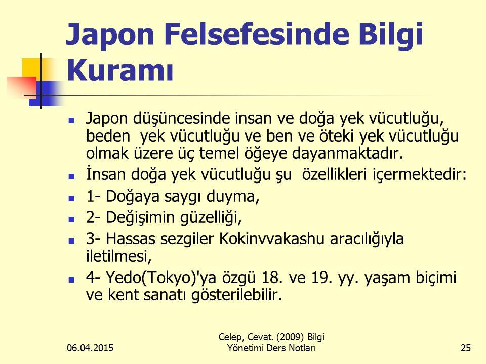 06.04.2015 Celep, Cevat. (2009) Bilgi Yönetimi Ders Notları25 Japon Felsefesinde Bilgi Kuramı Japon düşüncesinde insan ve doğa yek vücutluğu, beden ye