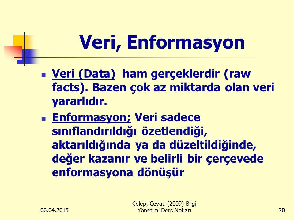 06.04.2015 Celep, Cevat. (2009) Bilgi Yönetimi Ders Notları30 Veri, Enformasyon Veri (Data) ham gerçeklerdir (raw facts). Bazen çok az miktarda olan v