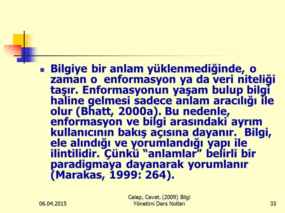06.04.2015 Celep, Cevat. (2009) Bilgi Yönetimi Ders Notları33 Bilgiye bir anlam yüklenmediğinde, o zaman o enformasyon ya da veri niteliği taşır. Enfo