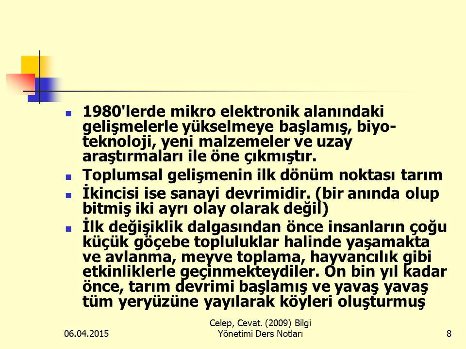06.04.2015 Celep, Cevat. (2009) Bilgi Yönetimi Ders Notları8 1980'lerde mikro elektronik alanındaki gelişmelerle yükselmeye başlamış, biyo- teknoloji,