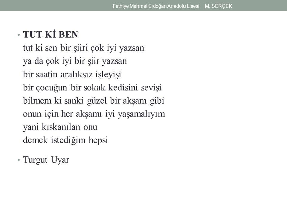 TUT Kİ BEN tut ki sen bir şiiri çok iyi yazsan ya da çok iyi bir şiir yazsan bir saatin aralıksız işleyişi bir çocuğun bir sokak kedisini sevişi bilmem ki sanki güzel bir akşam gibi onun için her akşamı iyi yaşamalıyım yani kıskanılan onu demek istediğim hepsi Turgut Uyar Fethiye Mehmet Erdoğan Anadolu Lisesi M.