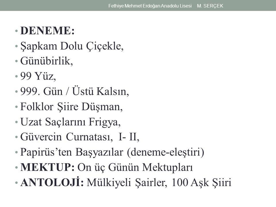 DENEME: Şapkam Dolu Çiçekle, Günübirlik, 99 Yüz, 999.