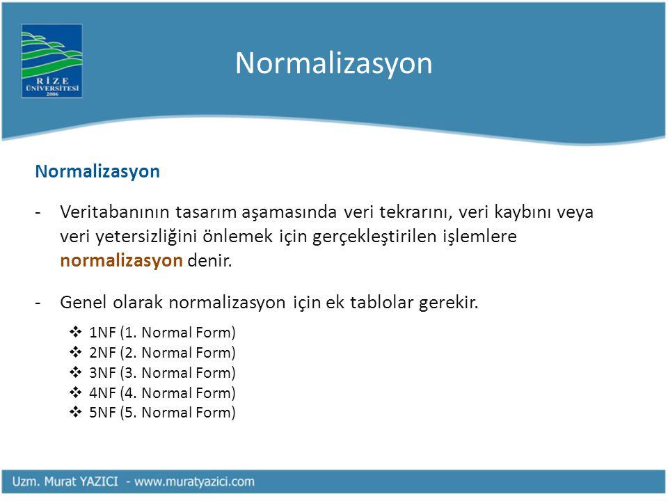 Normalizasyon -Veritabanının tasarım aşamasında veri tekrarını, veri kaybını veya veri yetersizliğini önlemek için gerçekleştirilen işlemlere normaliz