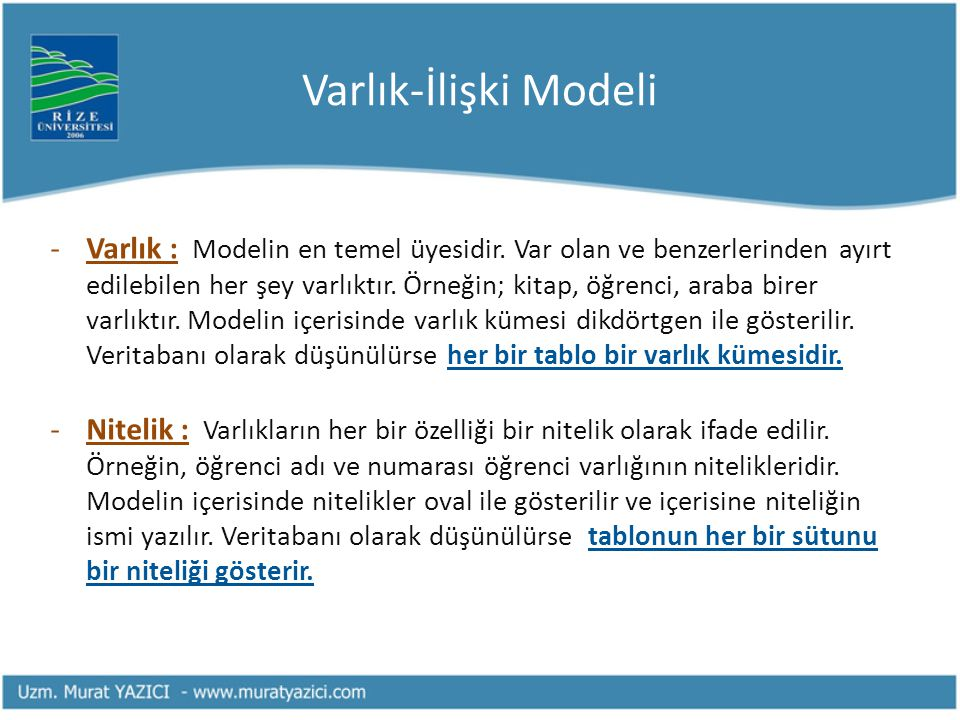 Varlık-İlişki Modeli -Varlık : Modelin en temel üyesidir. Var olan ve benzerlerinden ayırt edilebilen her şey varlıktır. Örneğin; kitap, öğrenci, arab