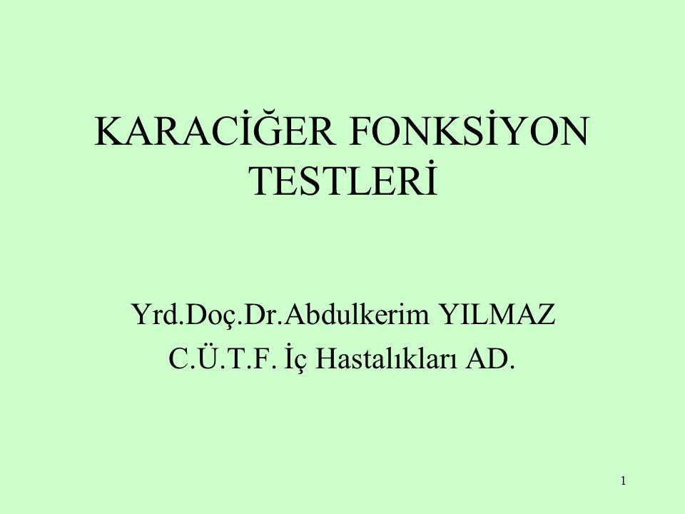 1 KARACİĞER FONKSİYON TESTLERİ Yrd.Doç.Dr.Abdulkerim YILMAZ C.Ü.T.F. İç Hastalıkları AD.
