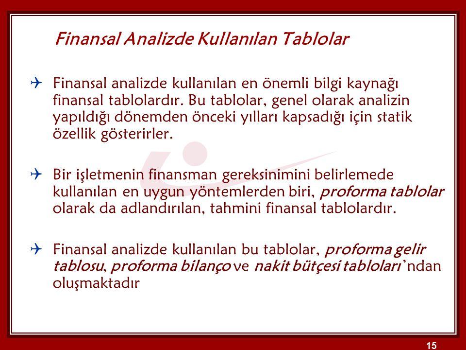 15  Finansal analizde kullanılan en önemli bilgi kaynağı finansal tablolardır. Bu tablolar, genel olarak analizin yapıldığı dönemden önceki yılları k