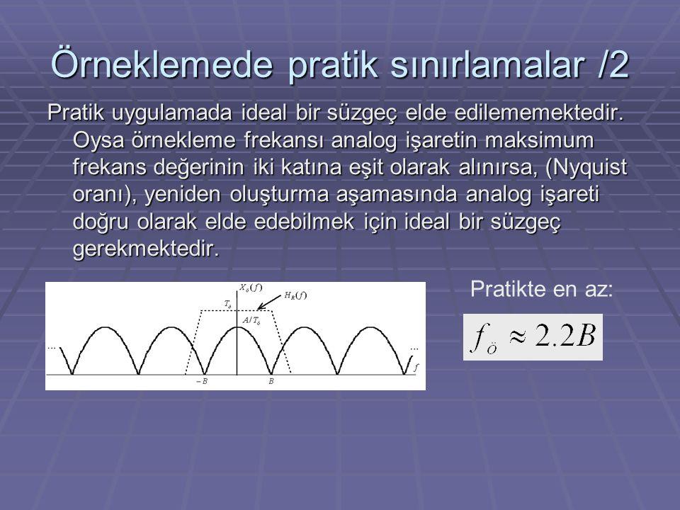 Örneklemede pratik sınırlamalar /2 Pratik uygulamada ideal bir süzgeç elde edilememektedir. Oysa örnekleme frekansı analog işaretin maksimum frekans d