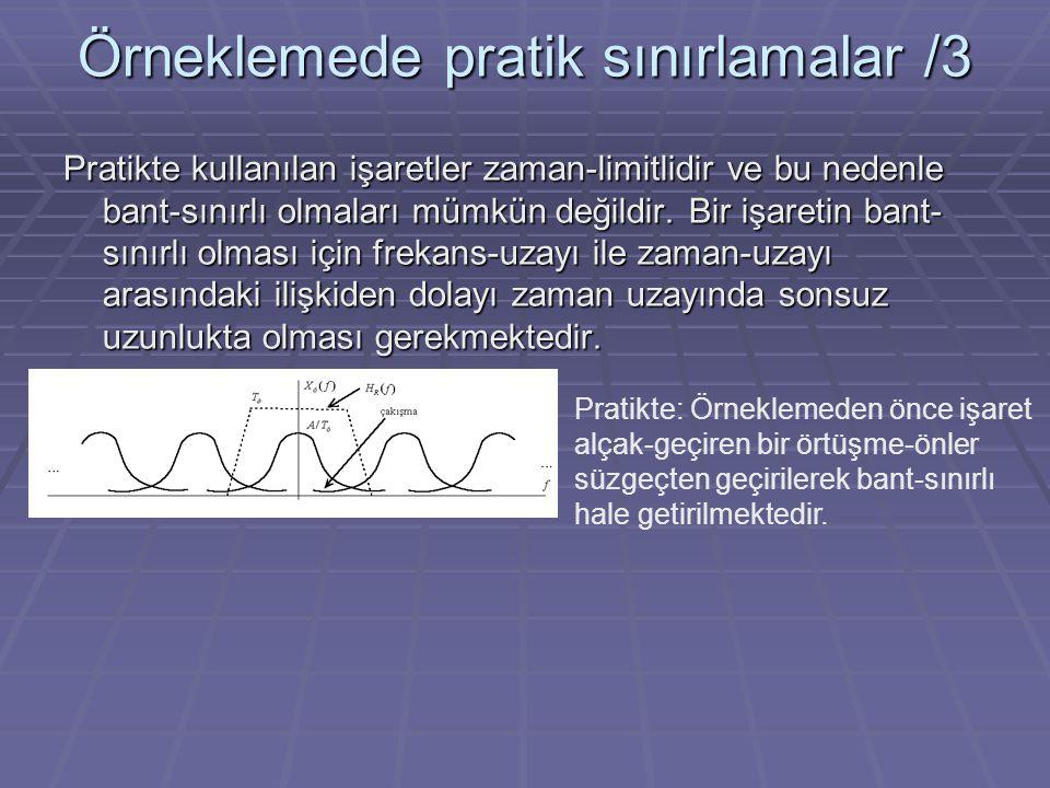 Örneklemede pratik sınırlamalar /3 Pratikte kullanılan işaretler zaman-limitlidir ve bu nedenle bant-sınırlı olmaları mümkün değildir. Bir işaretin ba