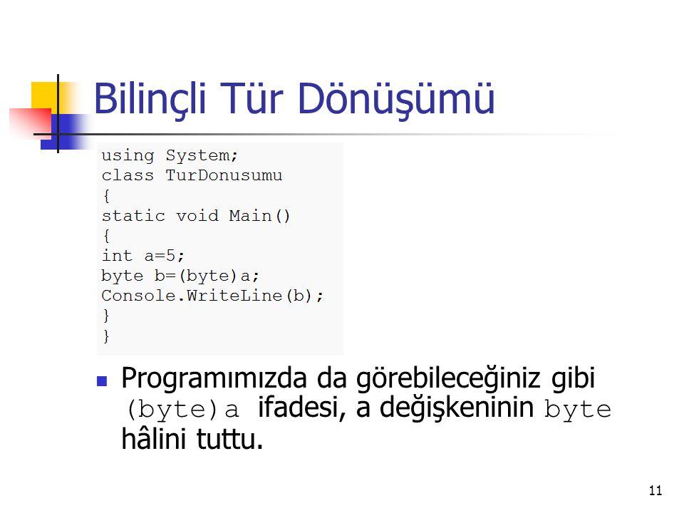 Bilinçli Tür Dönüşümü Programımızda da görebileceğiniz gibi (byte)a ifadesi, a değişkeninin byte hâlini tuttu. 11