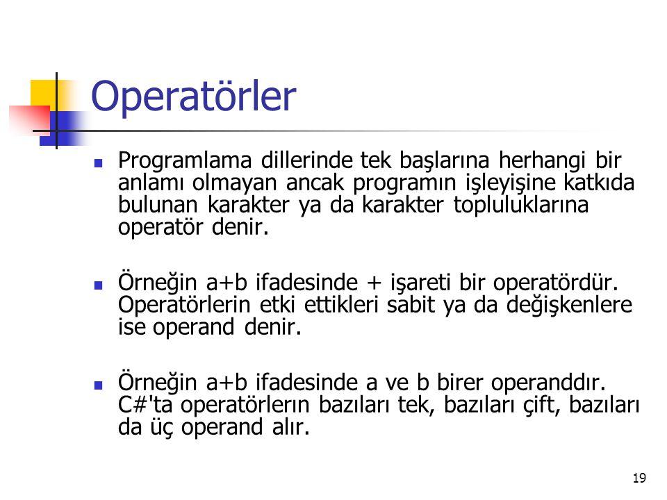 Operatörler Programlama dillerinde tek başlarına herhangi bir anlamı olmayan ancak programın işleyişine katkıda bulunan karakter ya da karakter toplul