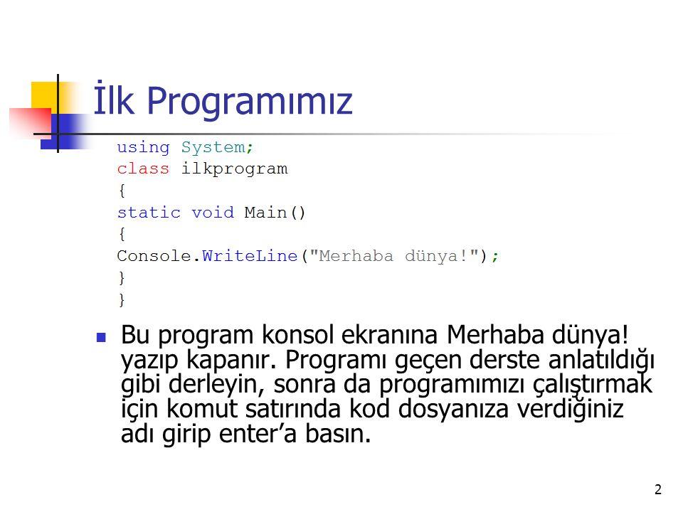 2 İlk Programımız Bu program konsol ekranına Merhaba dünya! yazıp kapanır. Programı geçen derste anlatıldığı gibi derleyin, sonra da programımızı çalı