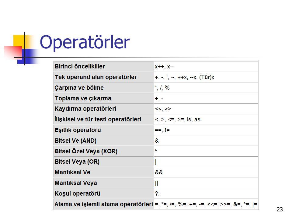Operatörler 23