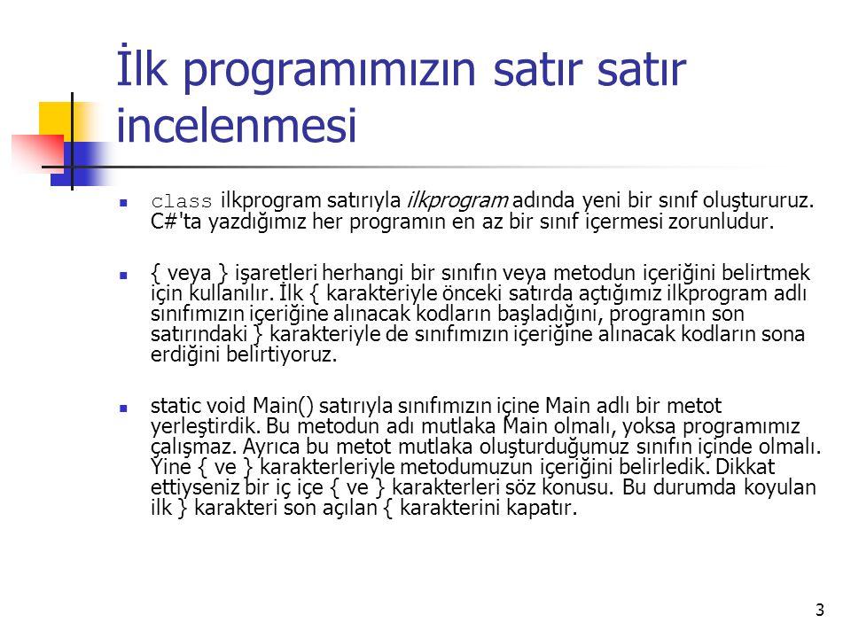 İlk programımızın satır satır incelenmesi class ilkprogram satırıyla ilkprogram adında yeni bir sınıf oluştururuz. C#'ta yazdığımız her programın en a