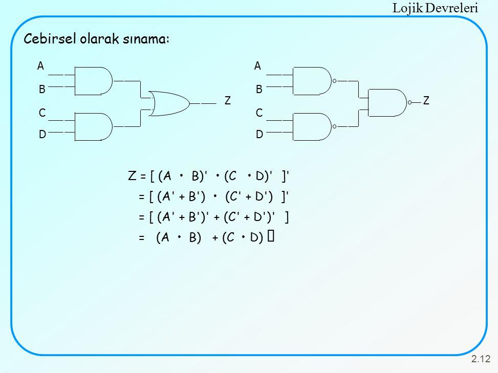 Lojik Devreleri 2.12 A B C D Z A B C D Z Cebirsel olarak sınama: Z = [ (A B)' (C D)' ]' = [ (A' + B') (C' + D') ]' = [ (A' + B')' + (C' + D')' ] = (A