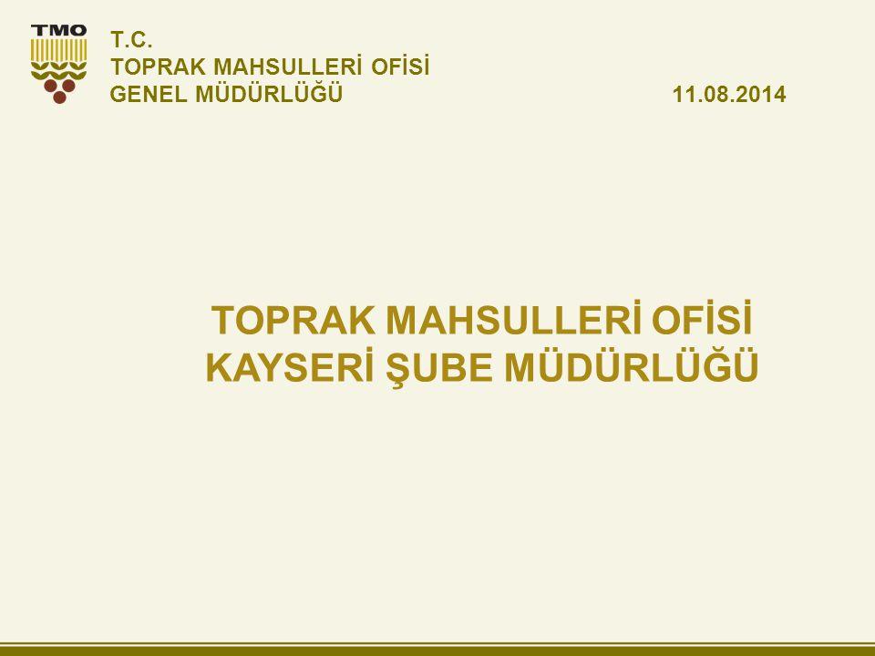 T.C. TOPRAK MAHSULLERİ OFİSİ GENEL MÜDÜRLÜĞÜ 11.08.2014 TOPRAK MAHSULLERİ OFİSİ KAYSERİ ŞUBE MÜDÜRLÜĞÜ