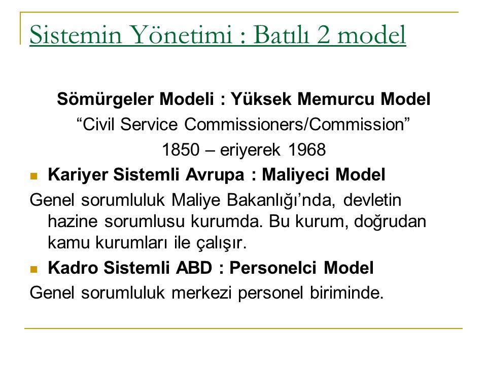 """Sistemin Yönetimi : Batılı 2 model Sömürgeler Modeli : Yüksek Memurcu Model """"Civil Service Commissioners/Commission"""" 1850 – eriyerek 1968 Kariyer Sist"""