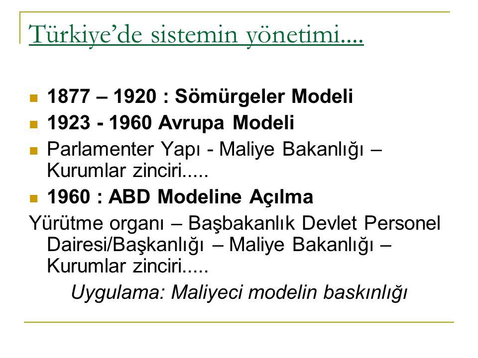 Türkiye'de sistemin yönetimi.... 1877 – 1920 : Sömürgeler Modeli 1923 - 1960 Avrupa Modeli Parlamenter Yapı - Maliye Bakanlığı – Kurumlar zinciri.....