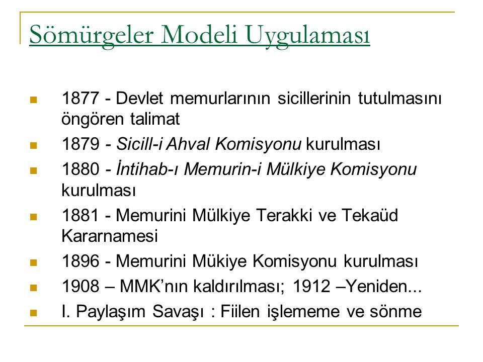 Sömürgeler Modeli Uygulaması 1877 - Devlet memurlarının sicillerinin tutulmasını öngören talimat 1879 - Sicill-i Ahval Komisyonu kurulması 1880 - İnti
