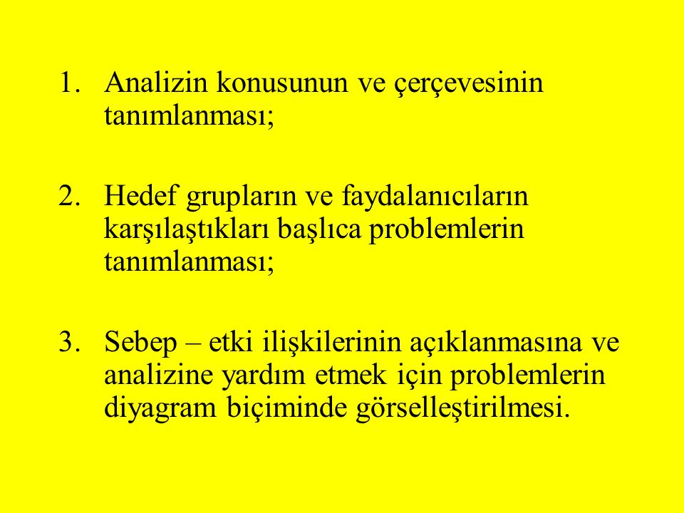 Hedef Ağacı Nasıl Oluşturulur Adım 1:Problem analizinin bütün olumsuz durumlarını olumlu çözümlere dönüşecek şekilde yeniden formüle et: –Istenilen –gerçekçi olarak elde edilebilir olan Adım 2: Hiyerarşinin geçerliliğinden ve tamamlılığından emin olmak için araç-sonuç ilişkisini kontrol et (sebep-etki ilişkisi araç- sonuç bağlantısına dönüştürülür) Adım 3: Eğer gerekirse: –ifadeleri gözden geçirip düzenle –diğer yüksek seviyedeki hedefi elde etmek için gerekli ve uygun görünürse yeni hedefler ekle –gerekli ve uygun gözükmeyen hedefleri sil