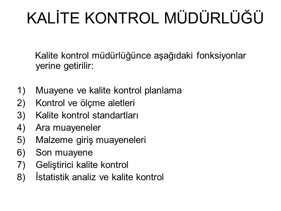 Kalite kontrol müdürlüğünce aşağıdaki fonksiyonlar yerine getirilir: 1)Muayene ve kalite kontrol planlama 2)Kontrol ve ölçme aletleri 3)Kalite kontrol