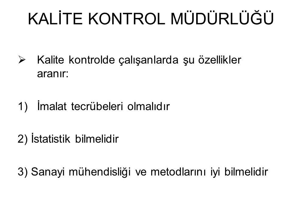  Kalite kontrolde çalışanlarda şu özellikler aranır: 1)İmalat tecrübeleri olmalıdır 2) İstatistik bilmelidir 3) Sanayi mühendisliği ve metodlarını iy