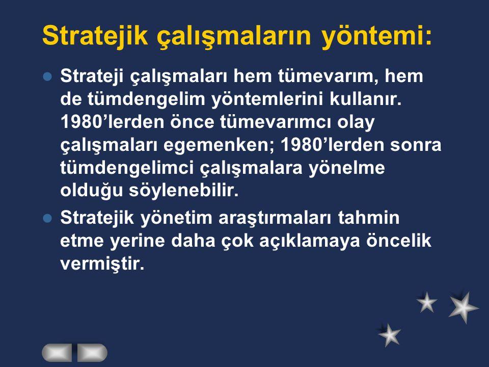 Stratejik çalışmaların yöntemi: Strateji çalışmaları hem tümevarım, hem de tümdengelim yöntemlerini kullanır.