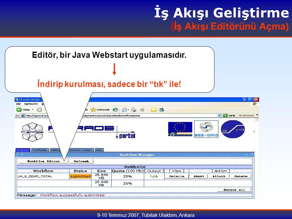 9-10 Temmuz 2007, Tübitak Ulakbim, Ankara İş Akışı Geliştirme (İş Akışı Editörünü Açma) Editör, bir Java Webstart uygulamasıdır.