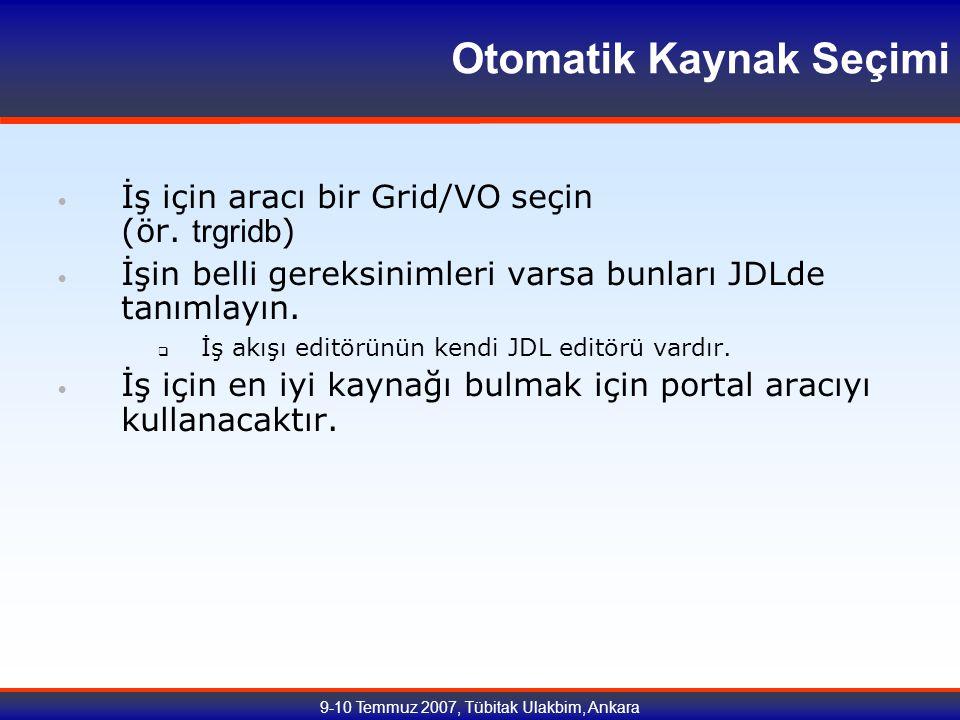 9-10 Temmuz 2007, Tübitak Ulakbim, Ankara Otomatik Kaynak Seçimi İş için aracı bir Grid/VO seçin (ör.
