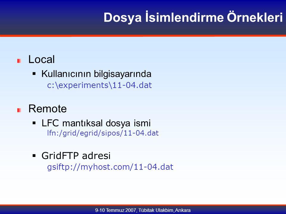 9-10 Temmuz 2007, Tübitak Ulakbim, Ankara Dosya İsimlendirme Örnekleri Local  Kullanıcının bilgisayarında c:\experiments\11-04.dat Remote  LFC mantıksal dosya ismi lfn:/grid/egrid/sipos/11-04.dat  GridFTP adres i gsiftp://myhost.com/11-04.dat