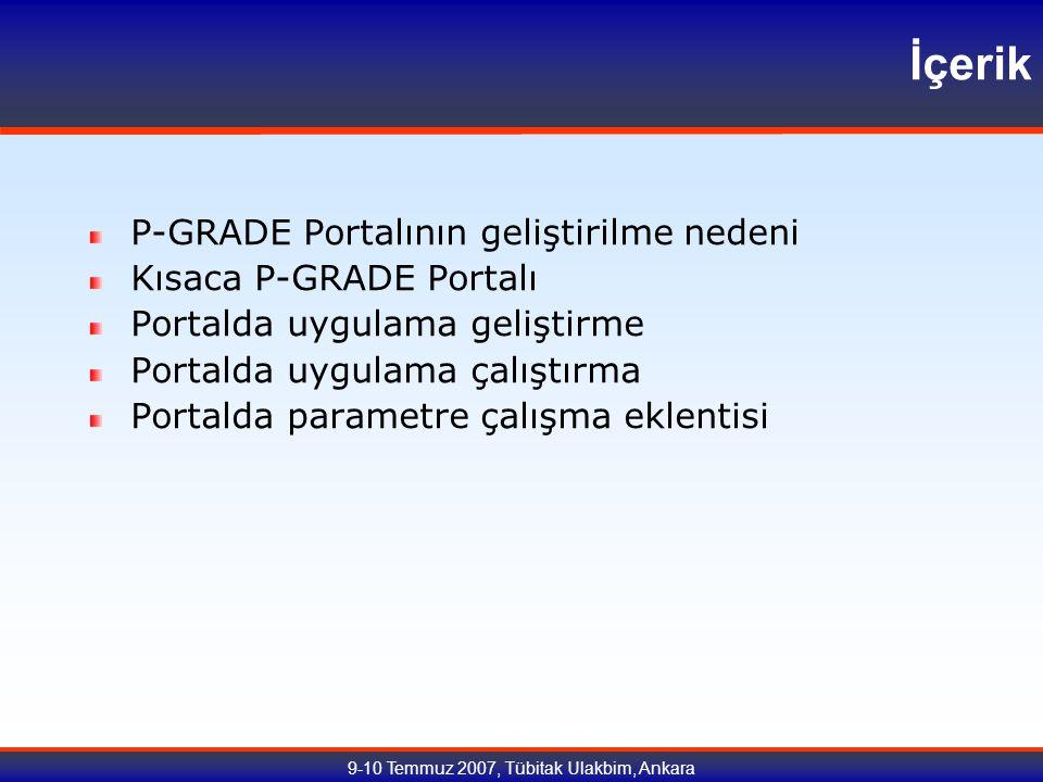 9-10 Temmuz 2007, Tübitak Ulakbim, Ankara İçerik P-GRADE Portalının geliştirilme nedeni Kısaca P-GRADE Portalı Portalda uygulama geliştirme Portalda uygulama çalıştırma Portalda parametre çalışma eklentisi
