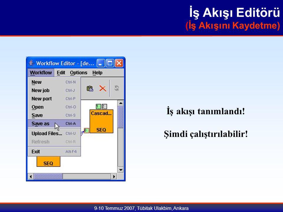 9-10 Temmuz 2007, Tübitak Ulakbim, Ankara İş Akışı Editörü (İş Akışını Kaydetme) İş akışı tanımlandı.