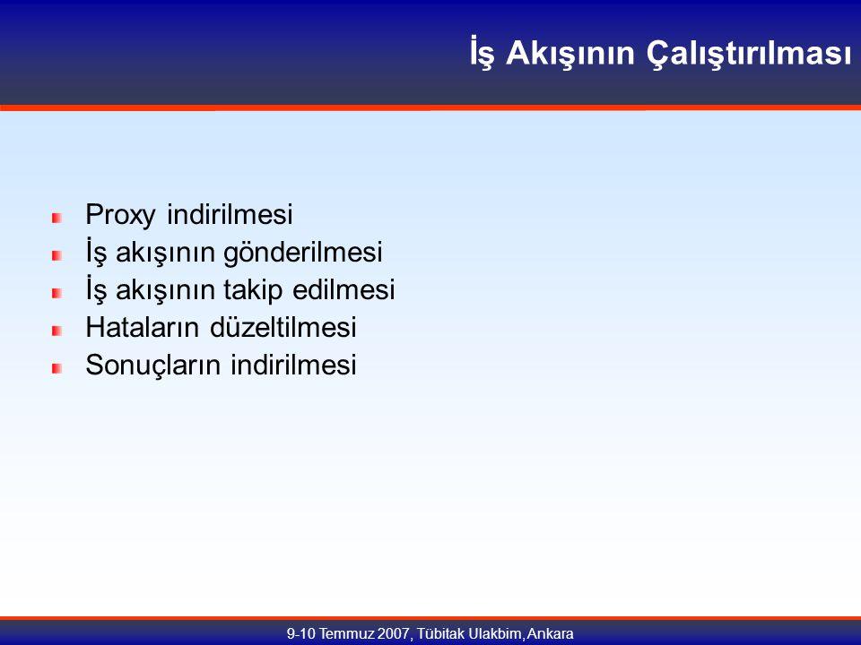 9-10 Temmuz 2007, Tübitak Ulakbim, Ankara İş Akışının Çalıştırılması Proxy indirilmesi İş akışının gönderilmesi İş akışının takip edilmesi Hataların düzeltilmesi Sonuçların indirilmesi