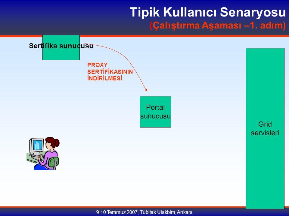 9-10 Temmuz 2007, Tübitak Ulakbim, Ankara Sertifika sunucusu Portal sunucusu Grid servisleri PROXY SERTİFİKASININ İNDİRİLMESİ Tipik Kullanıcı Senaryosu (Çalıştırma Aşaması –1.