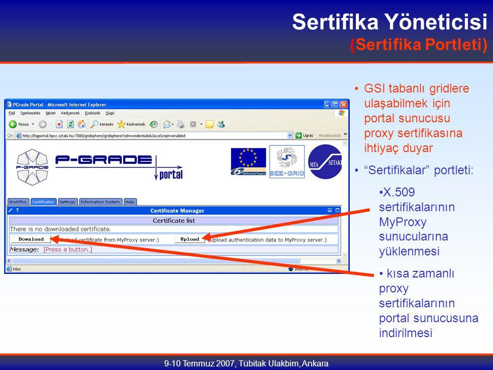 9-10 Temmuz 2007, Tübitak Ulakbim, Ankara Sertifika Yöneticisi (Sertifika Portleti) GSI tabanlı gridlere ulaşabilmek için portal sunucusu proxy sertifikasına ihtiyaç duyar Sertifikalar portleti: X.509 sertifikalarının MyProxy sunucularına yüklenmesi kısa zamanlı proxy sertifikalarının portal sunucusuna indirilmesi