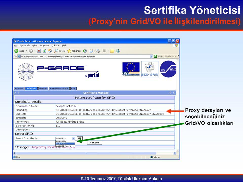 9-10 Temmuz 2007, Tübitak Ulakbim, Ankara Sertifika Yöneticisi (Proxy'nin Grid/VO ile İlişkilendirilmesi) Proxy detayları ve seçebileceğiniz Grid/VO olasılıkları
