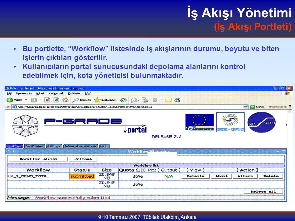 9-10 Temmuz 2007, Tübitak Ulakbim, Ankara İş Akışı Yönetimi (İş Akışı Portleti) Bu portlette, Workflow listesinde iş akışlarının durumu, boyutu ve biten işlerin çıktıları gösterilir.