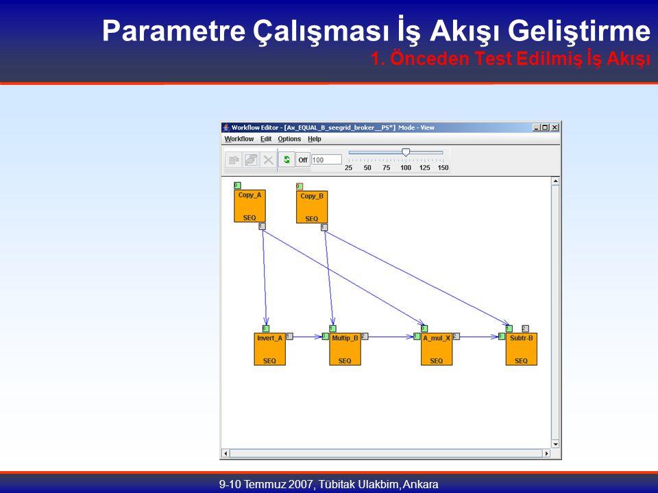 9-10 Temmuz 2007, Tübitak Ulakbim, Ankara Parametre Çalışması İş Akışı Geliştirme 1.