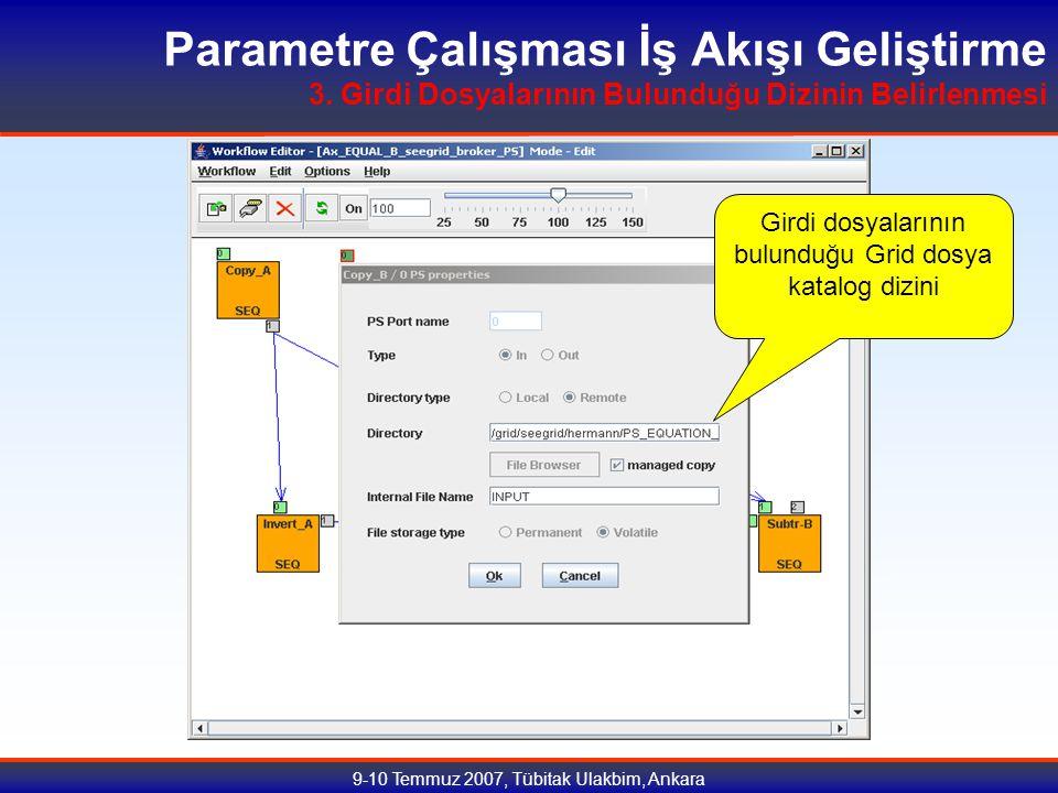 9-10 Temmuz 2007, Tübitak Ulakbim, Ankara Parametre Çalışması İş Akışı Geliştirme 3.