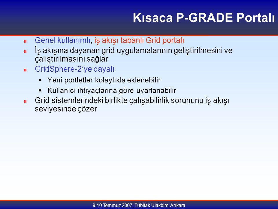 9-10 Temmuz 2007, Tübitak Ulakbim, Ankara Kısaca P-GRADE Portalı Genel kullanımlı, iş akışı tabanlı Grid portalı İş akışına dayanan grid uygulamalarının geliştirilmesini ve ç alıştırılmasını sağlar GridSphere-2 ' ye dayalı  Yeni portletler kolaylıkla eklenebilir  Kullanıcı ihtiya ç larına g ö re uyarlanabilir Grid sistemlerindeki birlikte ç alışabilirlik sorununu iş akışı seviyesinde çö zer