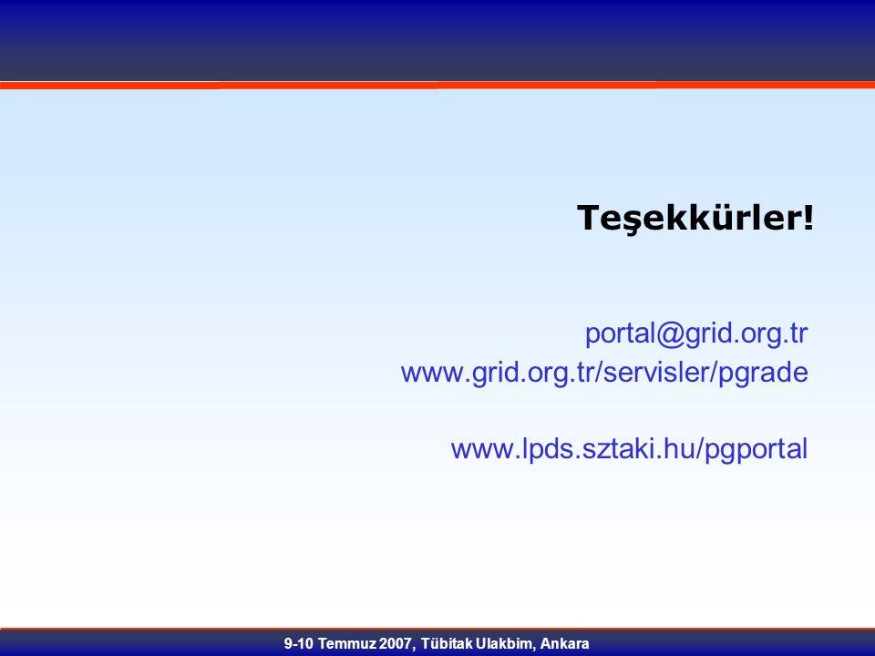 9-10 Temmuz 2007, Tübitak Ulakbim, Ankara Teşekkürler! portal@grid.org.tr www.grid.org.tr/servisler/pgrade www.lpds.sztaki.hu/pgportal