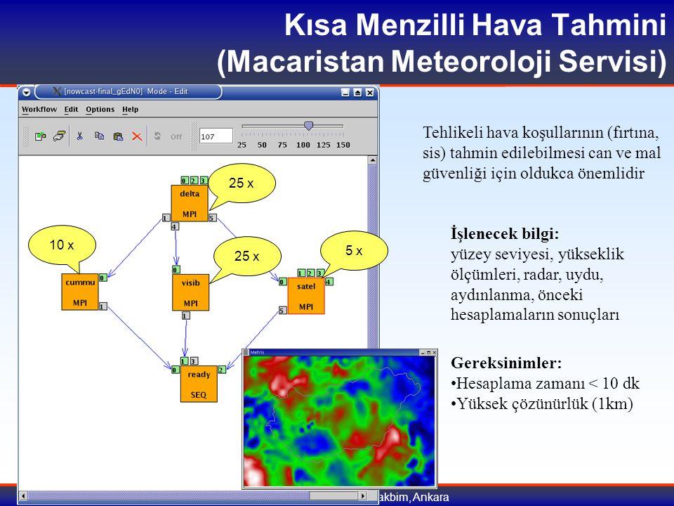 9-10 Temmuz 2007, Tübitak Ulakbim, Ankara 25 x 10 x 25 x 5 x Tehlikeli hava koşullarının (fırtına, sis) tahmin edilebilmesi can ve mal güvenliği için oldukca önemlidir İşlenecek bilgi: yüzey seviyesi, yükseklik ölçümleri, radar, uydu, aydınlanma, önceki hesaplamaların sonuçları Gereksinimler: Hesaplama zamanı < 10 dk Yüksek çözünürlük (1km) Kısa Menzilli Hava Tahmini (Macaristan Meteoroloji Servisi)