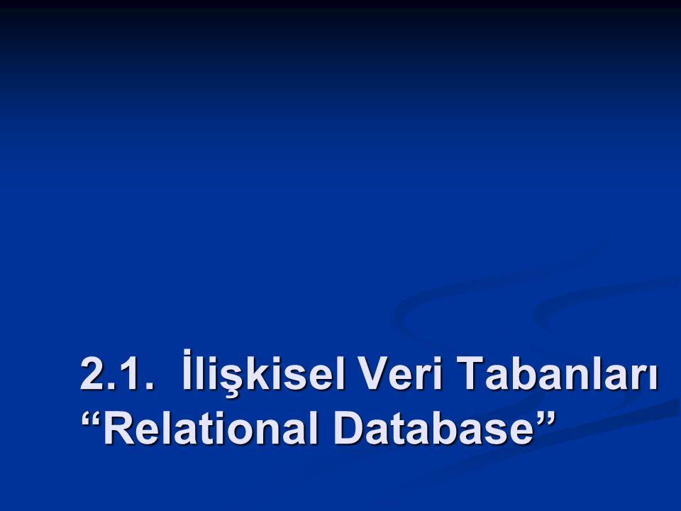 2.1. İlişkisel Veri Tabanları Relational Database