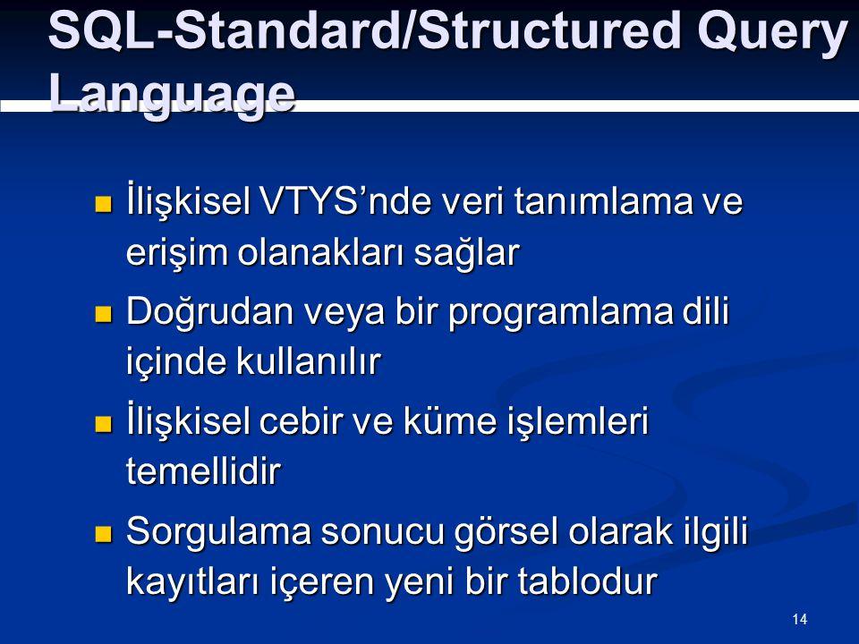 14 SQL-Standard/Structured Query Language İlişkisel VTYS'nde veri tanımlama ve erişim olanakları sağlar İlişkisel VTYS'nde veri tanımlama ve erişim olanakları sağlar Doğrudan veya bir programlama dili içinde kullanılır Doğrudan veya bir programlama dili içinde kullanılır İlişkisel cebir ve küme işlemleri temellidir İlişkisel cebir ve küme işlemleri temellidir Sorgulama sonucu görsel olarak ilgili kayıtları içeren yeni bir tablodur Sorgulama sonucu görsel olarak ilgili kayıtları içeren yeni bir tablodur