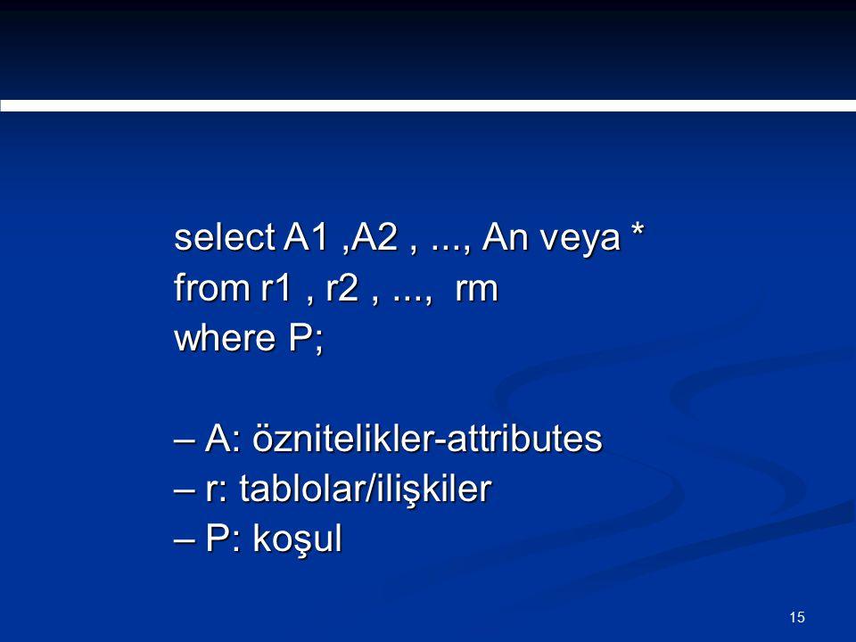 15 select A1,A2,..., An veya * from r1, r2,..., rm where P; – A: öznitelikler-attributes – r: tablolar/ilişkiler – P: koşul